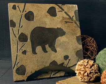 Natural Stone Trivet / Hot Plate - Bear on Buff Slate