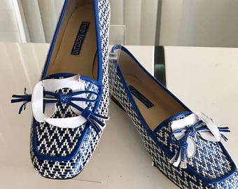 New Vintage Enzo Angiolini 60's Styled Tassel Loafer in Blue and White Size 6.5