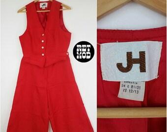 Cool Vintage 70s Tomato Red Linen Preppy Hippie Suit with Vest & Goucho Pants!