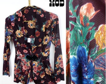 Perfect Vintage 70s Boho Dark Brown Floral Nylon Top / Blazer!