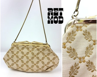 Beautiful Vintage 50s West Germany Gold Jacquard Leaf Evening Bag with Serpentine Chain Strap!