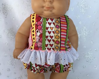 Springtime Stripes Dress with Bloomers for 13 inch baby doll like Berenguer