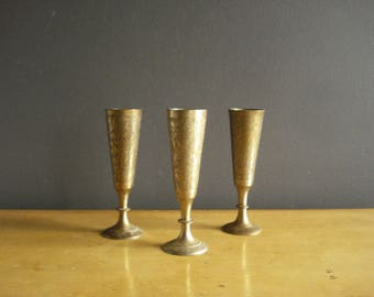 Etched Brass - Unique Vintage Mini  Brass Cup or Vase - Small Brass Vase