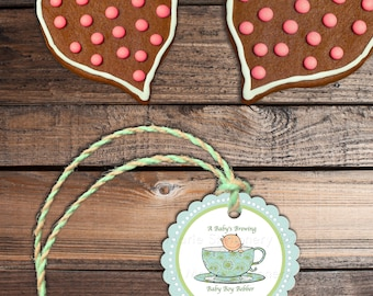 Baby Shower Gift Tags or Labels Stickers - A Baby's Brewing and Tea for Two - 24