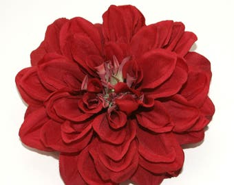 Red Dahlia - Artificial Flower, Silk Flower Head