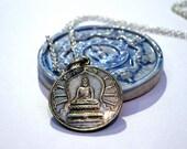 Silver Buddha & Dharma Wheel Pendant + Chain