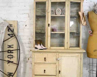 Painted Cottage Chic Shabby Antique Romantic French China Cabinet CC907
