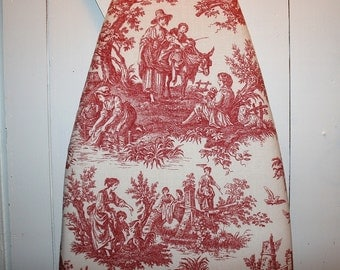 Red and Beige Toile Ironing Board Cover - Waverly Country Life Country Weekend Collection - Perfect for Farmhouse or Cottage Decor
