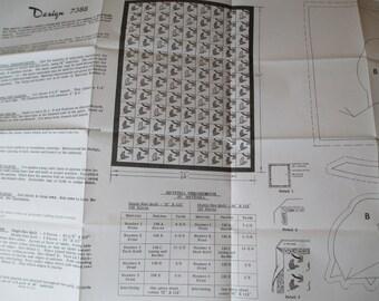 "Bird Quilt Pattern, Design 7388, Sizes include single size quilt 72"" x 112"", double size quilt 84"" x 112""."