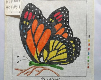 Rare Vintage Lark Creations Its A Lark Monarch Butterfly Handpainted Needlepoint Canvas