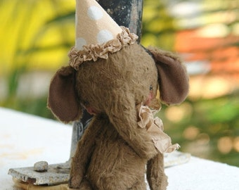 SPRING IS COMING Made To Order 4,5 inch Artist Handmade Brown Teddy Elephant Chocolate by Sasha Pokrass