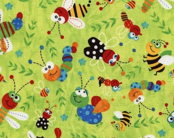 Timeless Treasures Little Critters Little Bugs Lime Fabric by the yard C4849-LIME