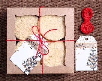Small Christmas Cookie Box: Small Bakery Boxes, Bakers Twine and Merry & Bright Gift Tags, Christmas Cookie Packaging, Holiday Cookie Box