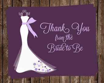 Bridal Shower Thank You Cards, Wedding Dress, Purple, Plum, White Gown, 24 Notes with Envelopes, FREE Ship, ELGPP, Elegant Gown  Purples