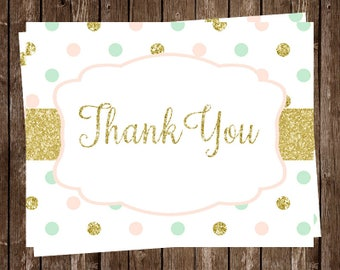 Baby Shower Thank You Notes, Polka Dots, Confetti, Wedding, Birthday, Pink, Blue, Gold, Glitter, 20 Printed Folding Cards, FREE Shipping