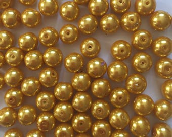 20 x 10mm golden yellow glass pearl beads