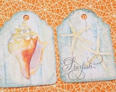 Seashell Tags - Set of 9 - Beach Shell Tag - Starfish Tags - Blue Brown White - Seashore Tags - Cottage Chic - Conch Shell - Nature Tags