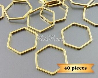 40 pcs matte gold 17mm open geometric hexagon pendants, honeycomb pendant 937-MG-17-bulk (40 pieces)