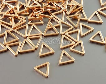 8 pcs tiny shiny rose gold plated brass 8mm triangles, geometric triangles, rose gold triangle pendants 935-BRG-8
