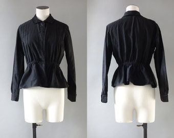 Simple black cotton pintucking shirt  | 1920's by Cubevintage | small to medium