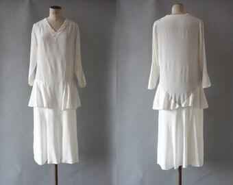 Candace wedding dress | White silk crepe dress with peplum waist | 1920's by Cubevintage | medium