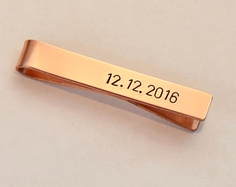 Personalized Copper Tie Clip for the 7th Anniversary or Custom Fashion Statements