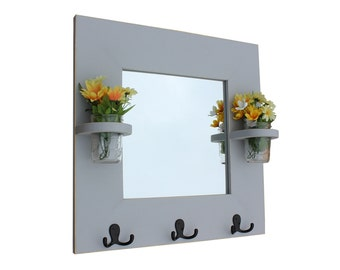 Mirror, Coat Rack, Mason Jars, Key Rack, Jar Vases