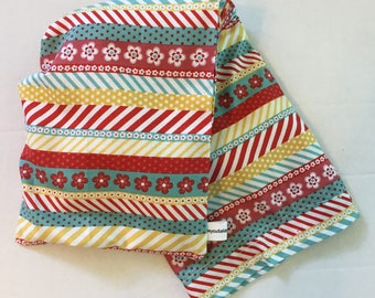 Hot/Cold Rice or Flax Seed Bag - Teal, Red, and Yellow Fun Stripes