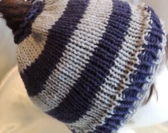 Messy Bun/Ponytail Hat Unisex Navy & Grey Stripe Knit Adult Size