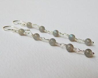 Long Labradorite Earrings - Sterling Silver Beaded Earrings Dangle Earrings Rosary Chain Drop Earrings