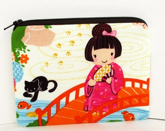 Small Zipper Pouch, Geisha Girl and Cat, Japanese Coin Purse