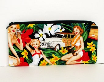Hawaiian Pencil Pouch, Long Zipper Pouch, Aloha Pin Up Girls. Woodie Surf Cars