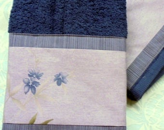 2/ Hand Towels ~ CALVIN KLEIN  Fabric Custom Decorated NAVY Terry Cloth Towels
