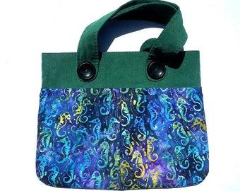 Seahorse Batik Purse Handbag Homemade Cotton and Corderoy