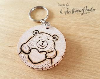 Wooden Charms, wine charm,  Bear Wooden Keychain