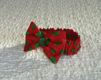 "Christmas Bow Tie, Dog Bandana, Little Christmas Trees Dog Scrunchie Collar with bow tie - Size M: 14"" to 16"" neck"
