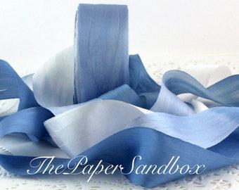 """La main ruban de soie teints, cravate teints soie, soie bleu/blanc, 1,25"""" de large par l'yard, ruban de soie bleu, mariage, Bouquet, Bridal Sash, emballage cadeau"""