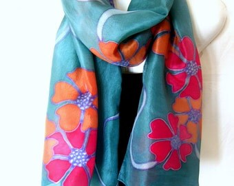 """Hand Painted Silk Scarf, Floral, Teal Red Orange, 71"""" x 18"""", Gift For Her"""