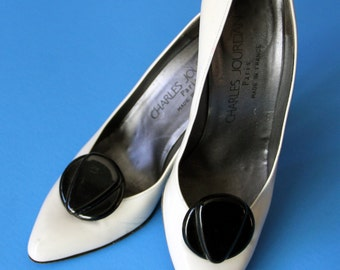 Vintage Charles Jourdan Black and White Patent Leather Pumps Size 7