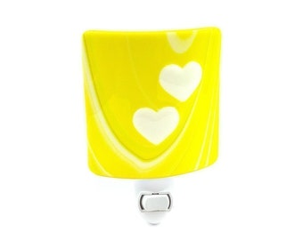 Night Light, Sunny Yellow with Pale Green and White Stripes, Raised Hearts