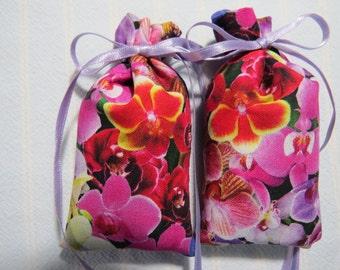 "Pink 4""X2"" Sachet-'Mango Lemonade' Fragrance-Pink and Lavender Orchid Sachet-Lavender Ribbon-Cotton Fabric Herbal Sachet-Cindy's Loft-707"