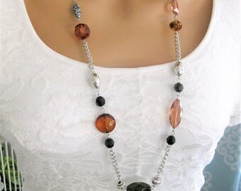 Long Brown Beaded Necklace, Beaded Necklace, Long Beaded Necklace, Bead Necklace, Long Necklace, Long Bead Necklace, Long Necklaces, N905