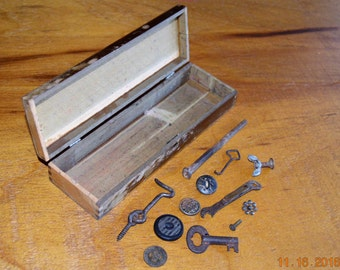antique School pencil Box wood, Junk Drawer Lot ,Lincoln Traction Token ,Found Objects,Destash Craft Supplies ,antique buttons,square nail,