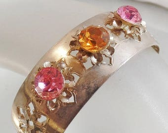ON SALE Vintage Pink Rhinestone Silver Snowflake Cuff Bracelet. Filigree Silver Plated Cuff Bracelet with Large Pink Gold Rhinestones