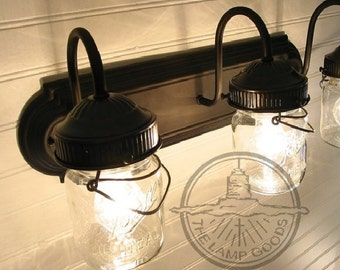Mason Jar LIGHT FIXTURE Bathroom of Vintage Pints - Wall SCONCE Lighting Flush Mount Farmhouse Rustic Track Ceiling Fan Glass by LampGoods