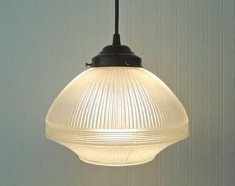 Vintage PENDANT Light of Heavy Textured Glass - Chandelier Pendant Lighting Fixture Flush Mount Kitchen Antique Farmhouse Hanging LampGoods