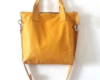 SALE Yellow leather tote - Handbag - Cross-body bag - Every day bag - Women bag - Shoulder leather bag