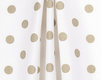 New item Sale-Metallic Gold Polka Dot Curtains, Window Treatments, Gold and White Curtains, Metllic Curtains