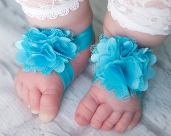 Turquoise Barefoot Sandals, blue Barefoot Sandals, turquoise newborn sandals, baby shoes, toddler shoes, blue baby sandals, baby shower gift