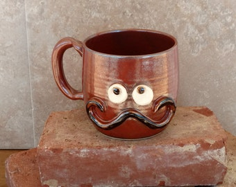 Face Mugs Ironic Hipster Handlebar Mustache Rustic Red Coffee Cup Unique Gifts for Him Husband Man Boyfriend Present. Father's Day Gift